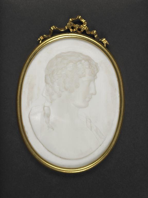 Glass paste medallion (Antinous) card