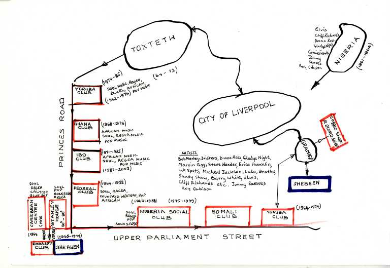 Music map of L8 by Chief Angus Chukuemeka, 2008 card