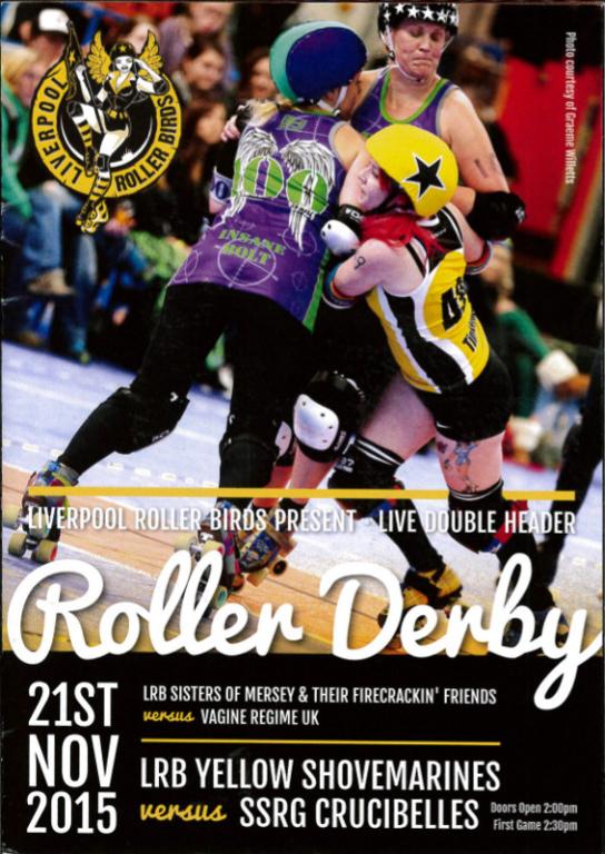 Programme, 'Roller Derby, Liverpool Roller Birds present - live double header' card