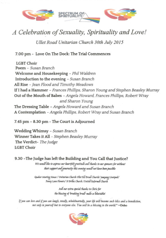 Programme, 'A Celebration of Sexuality, Spirituality and Love! Ullet Road Unitarian Church' card