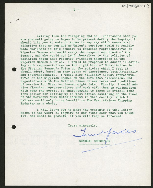 Papers relating to the Nigerian Seamen's Strike and the Nigerian Union of Seamen card