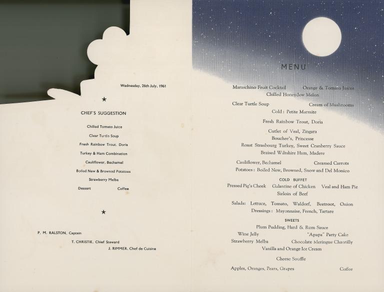 Carnival night menu, Apapa, Elder Dempster. card