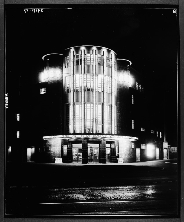 Photograph of exterior of Abbey Cinema, Wavertree taken at night card
