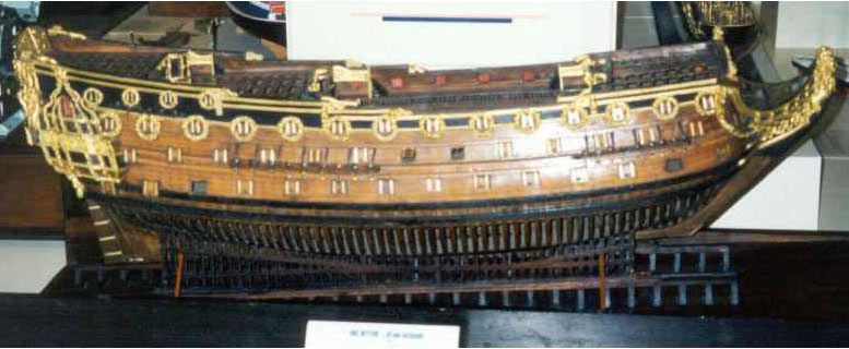 old wooden ship model of HMS Neptune