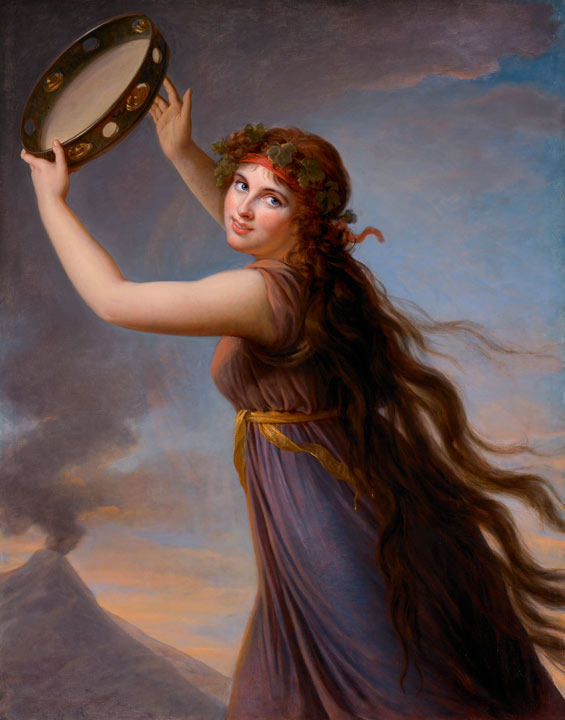 Emma Hamilton in Greek costume, holding a tambourine