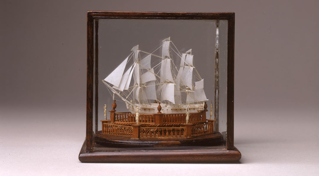 finely detailed ship model made of bone