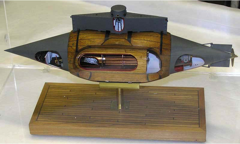 model of an old wooden submarine