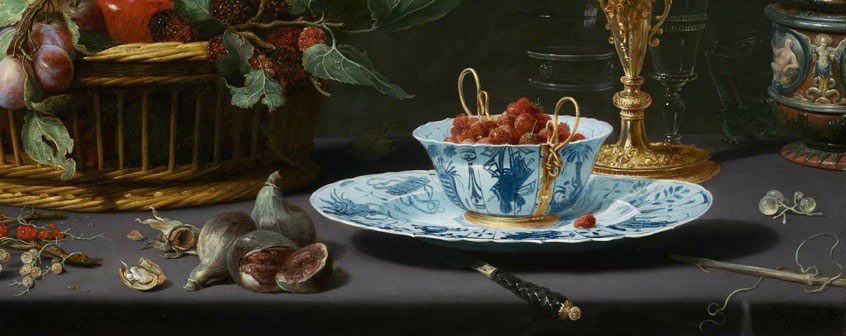 still life painting featuring Chinese porcelain