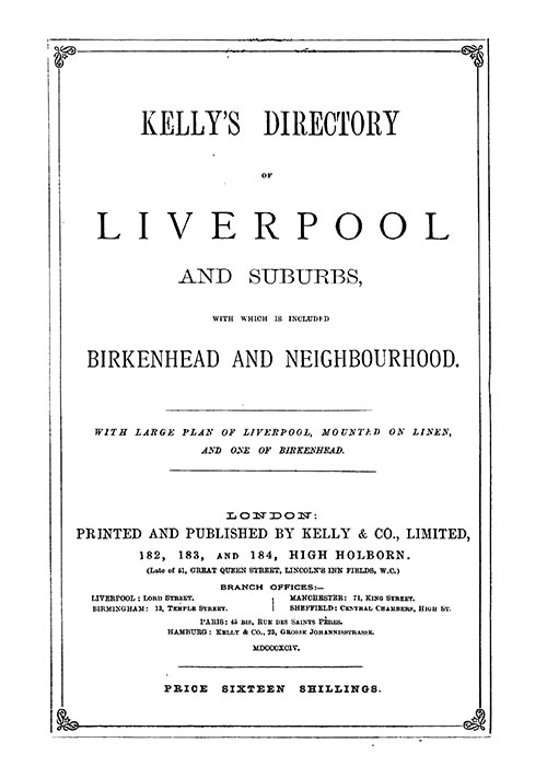 Kelly's Directory of Liverpool, 1894