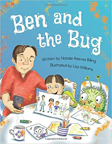 Children's book cover with picture of a family and big green bug