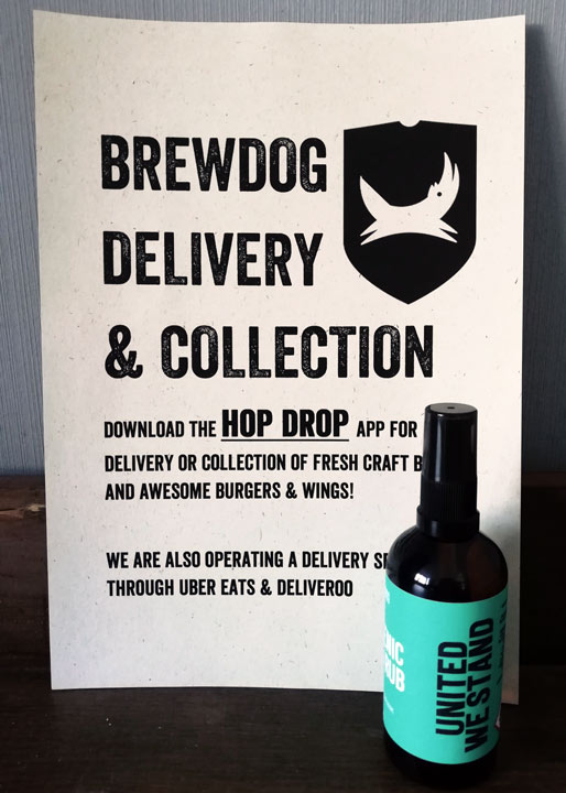 hand sanitiser with notice about brewery delivery service
