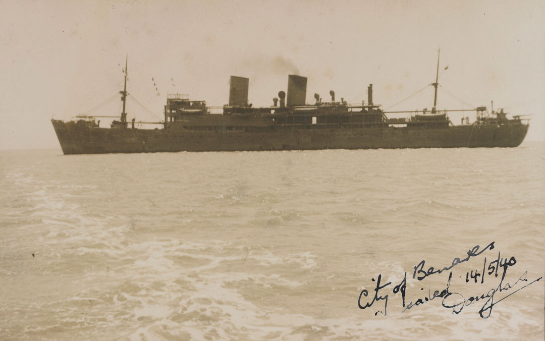 The ship City of Benares at sea with hand written note
