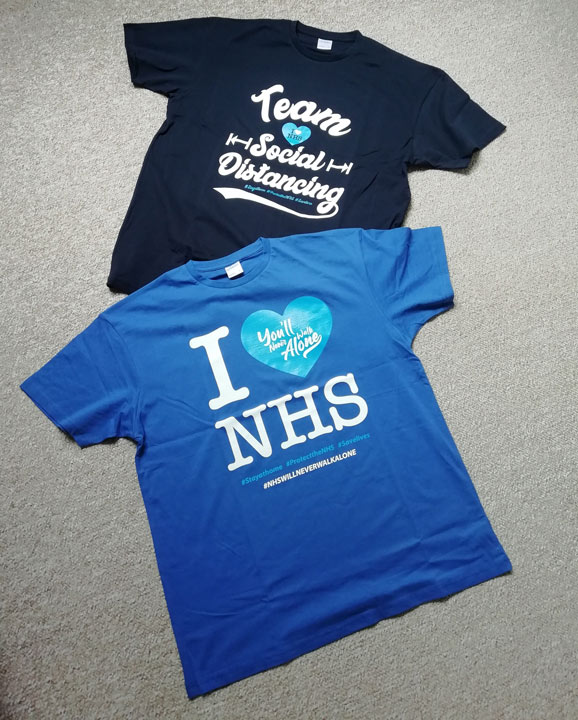 t-shirts with slogans supporting the NHS
