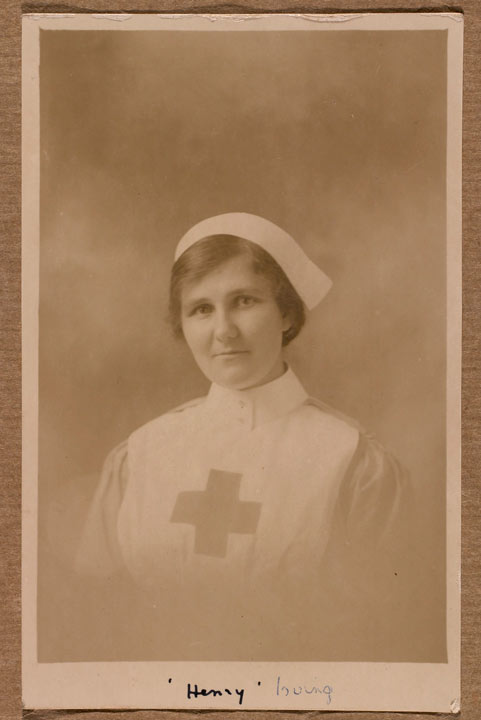 Florence Irving in nurse's uniform