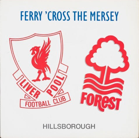 record sleeve with football club logos on the front