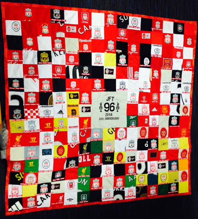 patchwork quilt made from football shirts