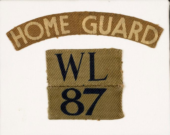 fabric badge with 'Home Guard' and soldier's number
