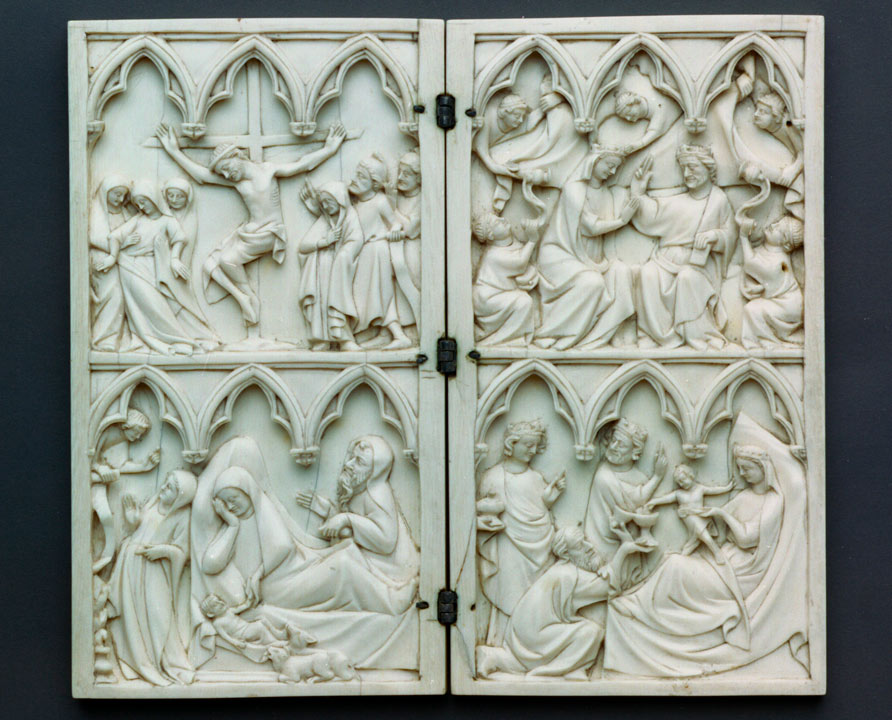 biblical scenes carved in ivory panels