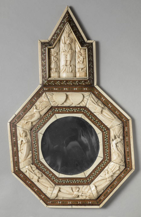 mirror with decorative carved ivory frame