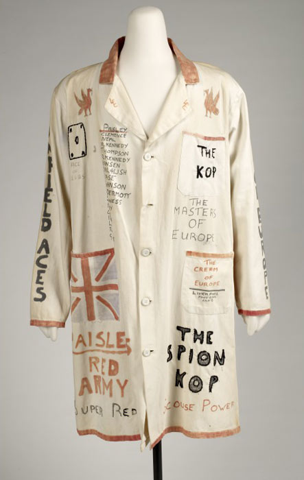 long white coat decorated with Liverpool Football Club images and phrases