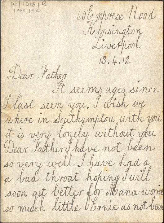 front of hand written letter, transcribed above