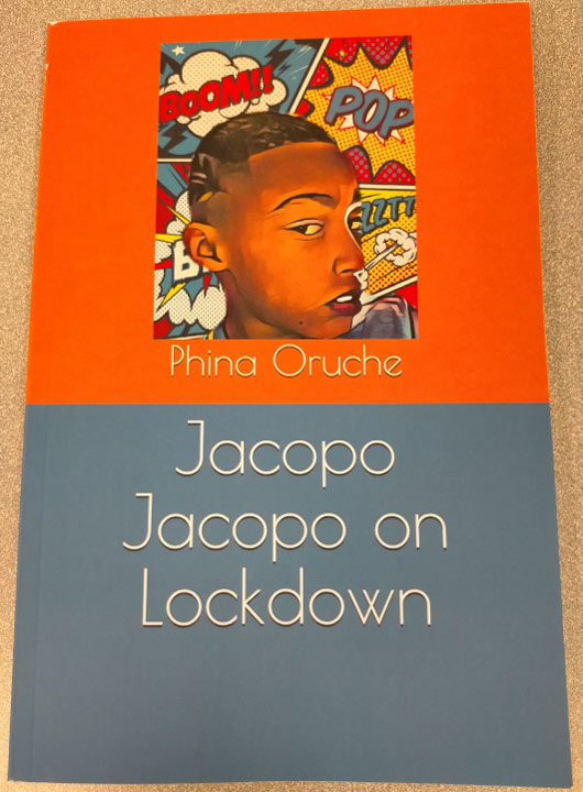 Book cover featuring a boy and cartoon graphics