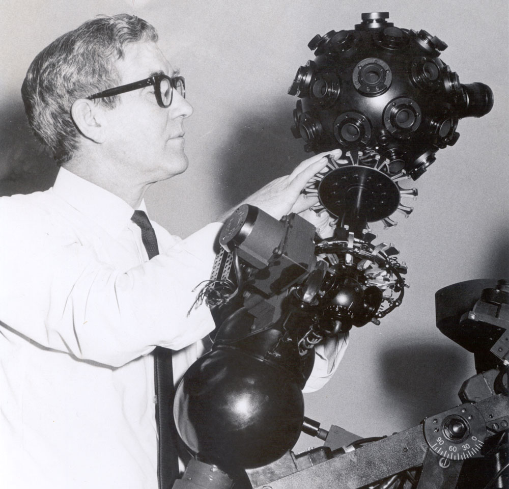 Harry Guile checking the planetarium projector
