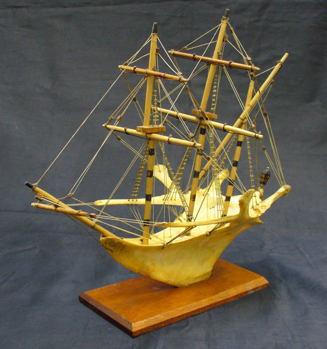 ship model made from a turkey breast bone