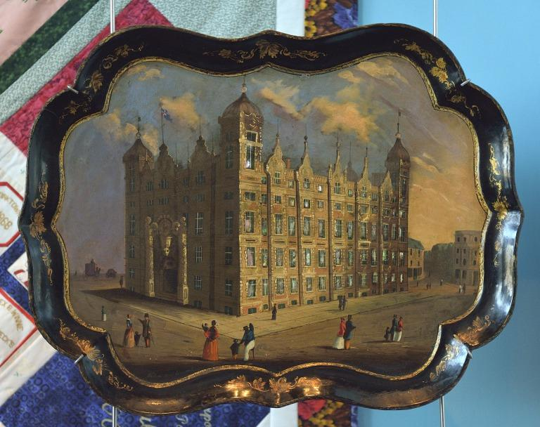 Painted tray, featuring Liverpool Sailors' Home card