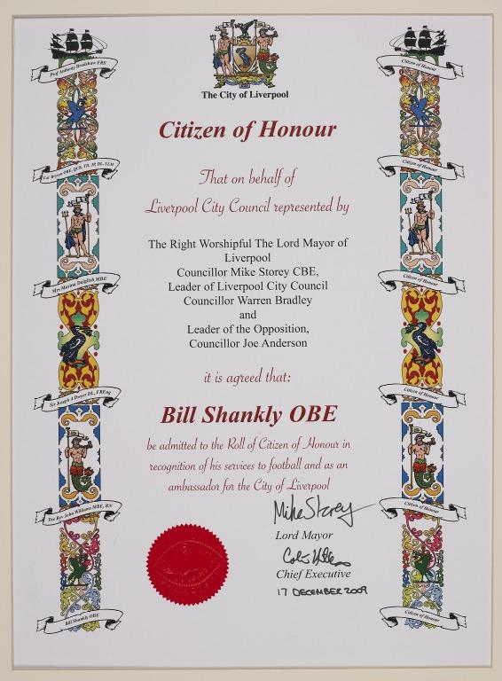 Honorary Citizen Of Liverpool certificate awarded to Bill Shankly card