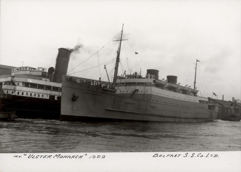 Photograph of Ulster Monarch, Belfast Steamship Company card