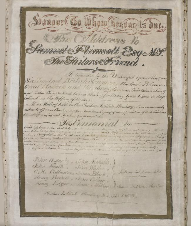 Testimonial address to Samuel Plimsoll, MP, awarded by the Sailors Institute Hamburg for services in the interest of sailors welfare who trade Britain and Hamburg, 1876. card
