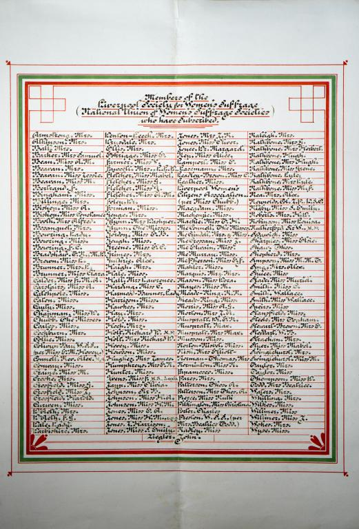 Liverpool Society for Woman's Suffrage members' list card