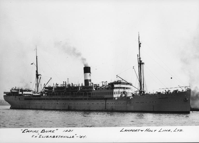 Photograph of Empire Bure (ex Elizabethville), Lamport and Holt card