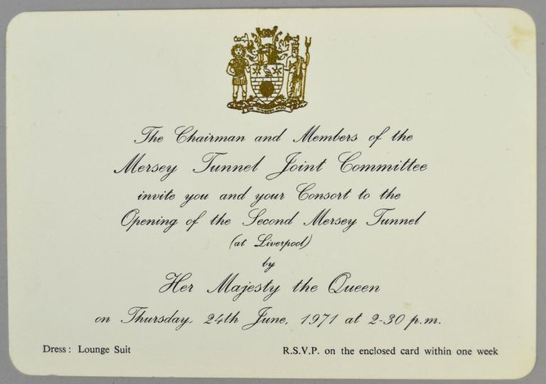 Opening of the Kingsway Tunnel invitation card