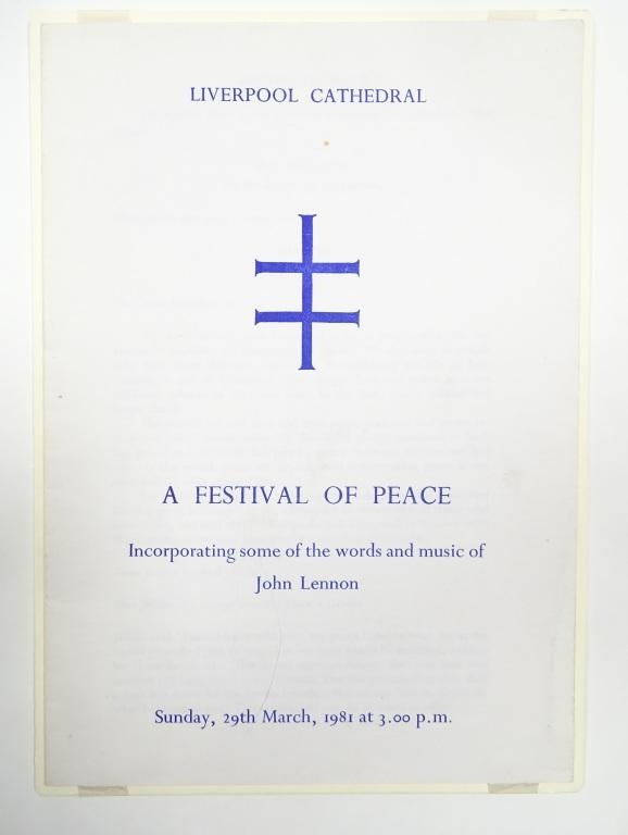 Order of Service for 'A Festival of Peace' at Liverpool Cathedral 1981 card