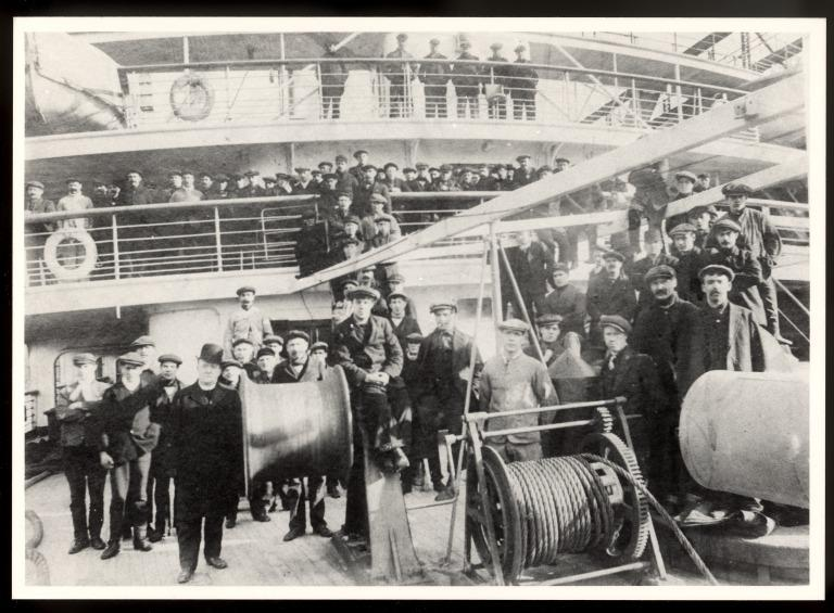 Photograph of firemen and engine crew onboard Lusitania, Cunard Line card