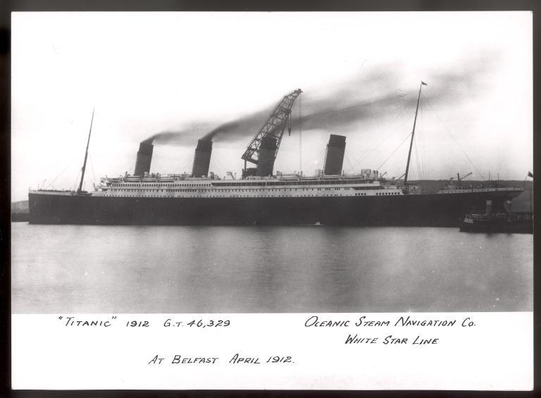 Photograph of Titanic, White Star Line card