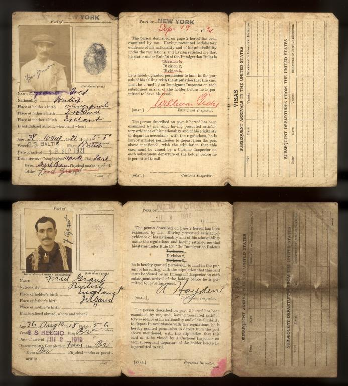 Career papers of Frederick Rowan, alias Grant, fireman on Lusitania at the time of sinking, 1915-1946. card