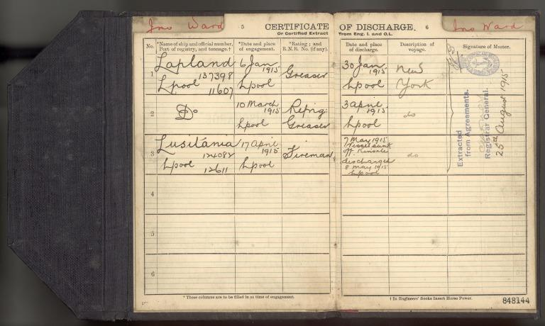 Discharge certificates of John Ward, fireman. card