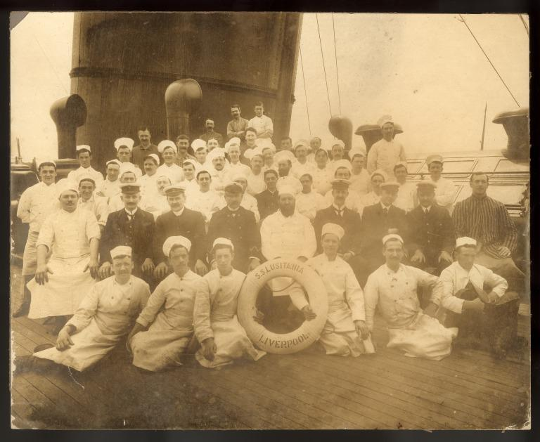 Photograph of the catering staff of Lusitania, Cunard,  c1907. card