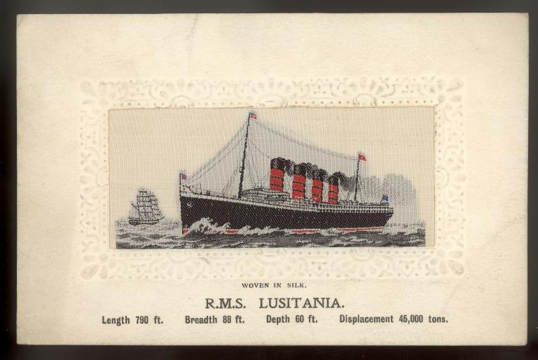 Postcards of Lusitania and Lucania, Cunard, c1915 card