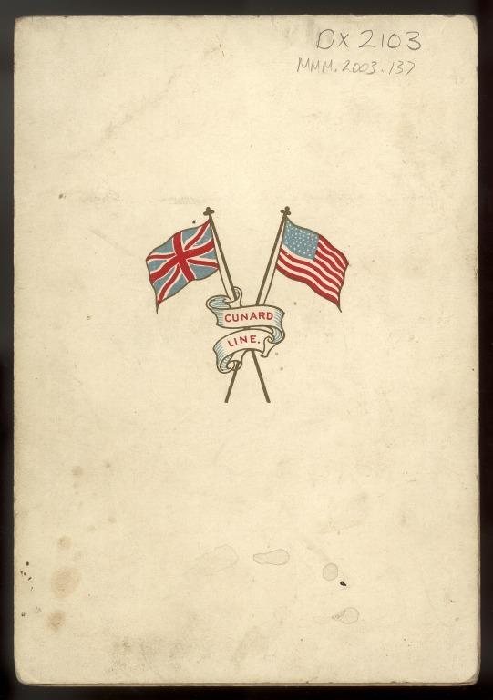 Menu from Lusitania, Cunard. card