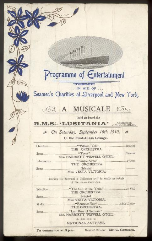 Programme of charity fundraising entertainment, Lusitania, Cunard, 1910. card