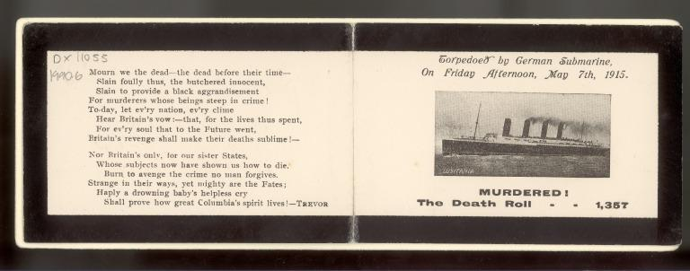 Lusitania memorial card featuring a poem, 'Murdered!' card