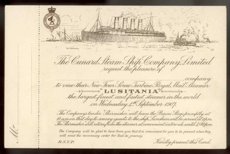 Invitation card to view Lusitania at Liverpool, 4 September 1907 card