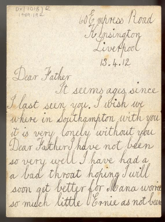 Letter from May Louise McMurray to her father William McMurray, crew member Titanic card