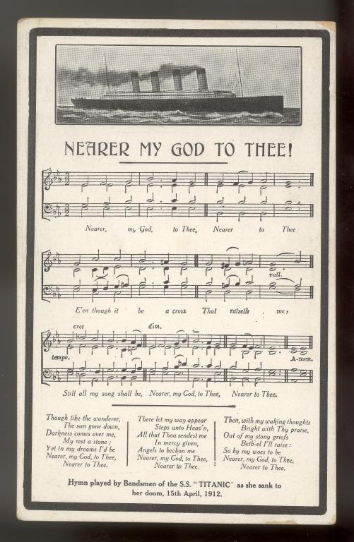 Postcard commemorating the sinking of the Titanic with words & music of Nearer My God to Thee card