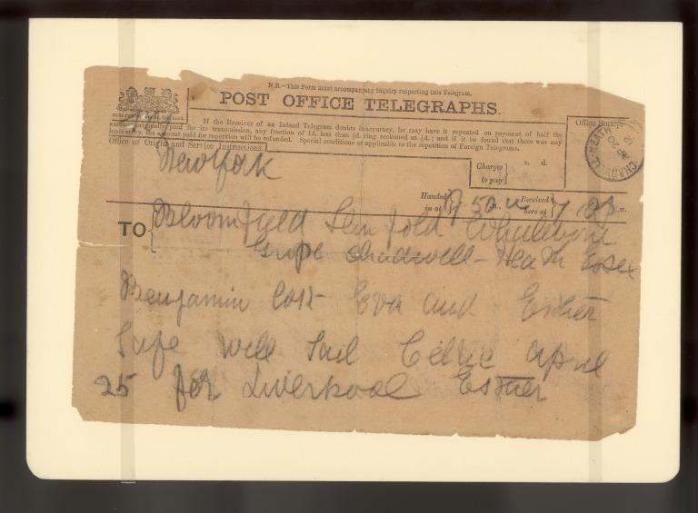 A telegram sent by survivor Esther Hart to relatives card