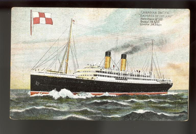 Postcards of the Empress of Ireland including two images of passengers on board card